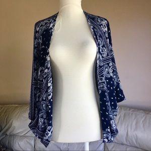 Bandanna Print Open Front Kimono-style Wrap